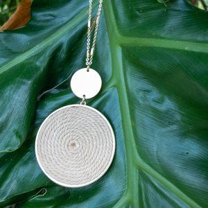 Rope swirl necklace with gold ball studs